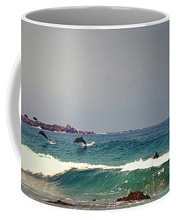 Dolphins Swimming With The Surfers At Asilomar State Beach  Coffee Mug