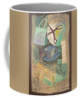 Coffee Mug featuring the painting Don't Be Blue by Mini Arora