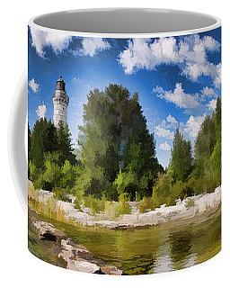 Door County Cana Island Lighthouse Panorama Coffee Mug