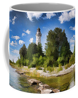 Door County Cana Island Lighthouse Panorama Coffee Mug