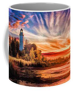 Door County Cana Island Lighthouse Sunrise Panorama Coffee Mug