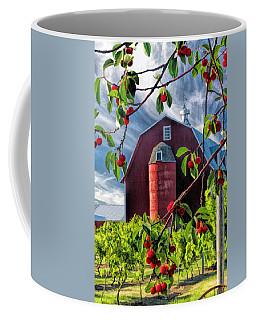 Door County Cherry Harvest Red Barn Coffee Mug