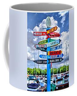 Door County Directional Sign In Egg Harbor Coffee Mug