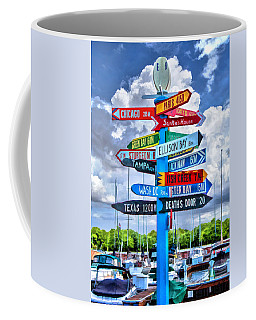 Door County Directional Sign In Egg Harbor Coffee Mug