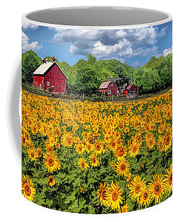 Door County Field Of Sunflowers Panorama Coffee Mug
