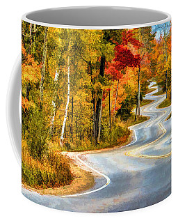 Door County Road To Northport In Autumn Coffee Mug