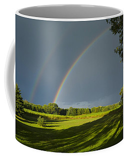 Double Rainbow Over Fields Coffee Mug