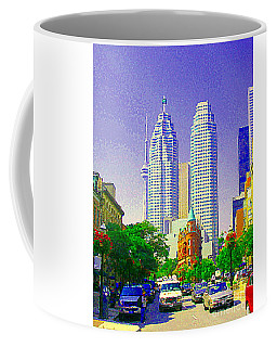 Coffee Mug featuring the painting Downtown Core Flatiron Building And Cn Tower Toronto City Scenes Paintings Canadian Art Cspandau by Carole Spandau