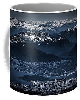 Downtown Vancouver And The Mountains Aerial View Low Key Coffee Mug by Eti Reid