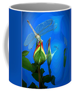 Coffee Mug featuring the photograph Dragonfly And Bud On Blue by Joyce Dickens