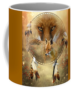 Coffee Mug featuring the painting Dream Catcher- Spirit Of The Red Fox by Carol Cavalaris