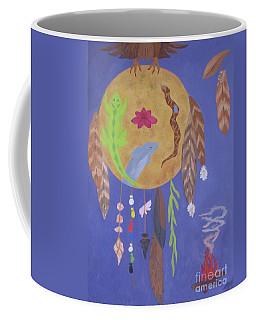 Coffee Mug featuring the painting Dream Spirit Shield by Ellen Levinson