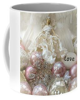 Dreamy Angel Christmas Holiday Shabby Chic Love Print - Holiday Angel Art Romantic Holiday Ornaments Coffee Mug by Kathy Fornal