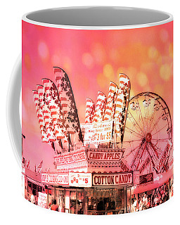 Surreal Hot Pink Orange Carnival Festival Cotton Candy Stand Candy Apples Ferris Wheel Art Coffee Mug