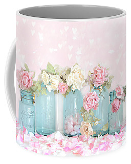 Dreamy Shabby Chic Pink White Roses  - Vintage Aqua Teal Ball Jars Romantic Floral Roses  Coffee Mug