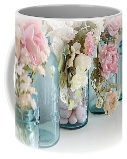 Shabby Chic Roses Blue Aqua Ball Mason Jars - Roses In Aqua Blue Mason Jars - Shabby Chic Decor Coffee Mug