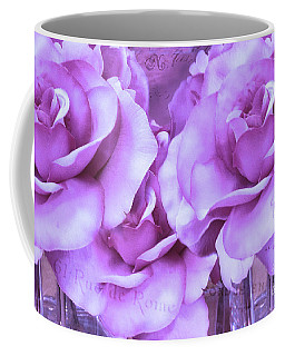 Dreamy Shabby Chic Purple Lavender Paris Roses - Dreamy Lavender Roses Cottage Floral Art Coffee Mug