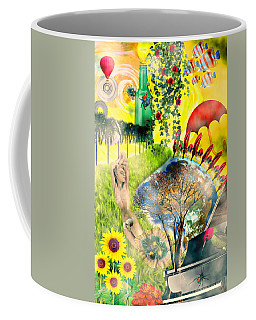 Coffee Mug featuring the mixed media Drifting Away by Ally  White
