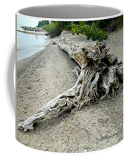 Coffee Mug featuring the photograph Driftwood At Lake Erie by Kathy Barney