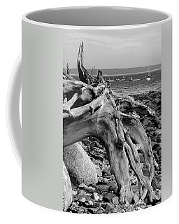Driftwood On Rocky Beach Coffee Mug