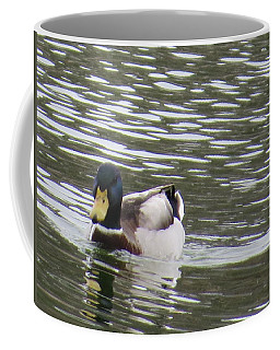 Coffee Mug featuring the photograph Duck Out For A Swim by Aaron Martens