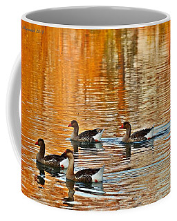 Coffee Mug featuring the photograph Ducks In The Fall by Lynn Hopwood