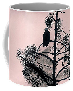 Coffee Mug featuring the drawing Eagle In Pink Sky by D Hackett