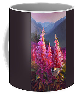 Eagle River Summer Chickadee And Fireweed Alaskan Landscape Coffee Mug by Karen Whitworth
