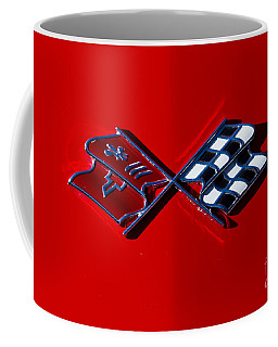 Early C3 Corvette Emblem Red Coffee Mug