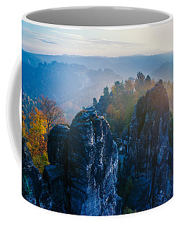 Early Morning Mist At The Bastei In The Saxon Switzerland Coffee Mug