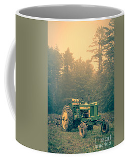 Early Morning Tractor In Farm Field Coffee Mug
