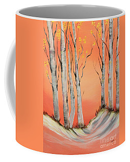 Coffee Mug featuring the painting Early Winter Aspen by Janice Rae Pariza