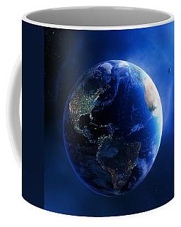 Earth And Galaxy With City Lights Coffee Mug