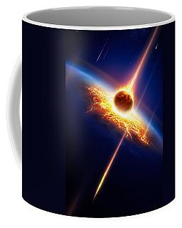 Earth In A  Meteor Shower Coffee Mug