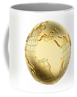 Earth In Gold Metal Isolated - Africa Coffee Mug