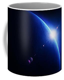 Earth Sunrise With Moon In Space Coffee Mug