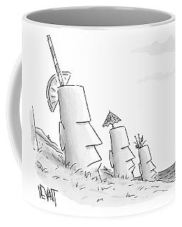 Easter Island Statues Have Straws And Umbrellas Coffee Mug
