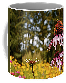 Echinacea With Bee Coffee Mug by Linda Bianic