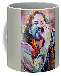 Eddie Vedder In Pink And Blue Coffee Mug by Joshua Morton