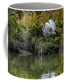 Coffee Mug featuring the photograph Egret At The Lake by Chris Lord
