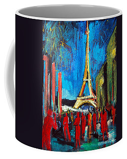 Eiffel Tower And The Red Visitors Coffee Mug