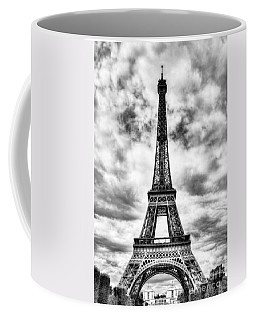 Coffee Mug featuring the photograph Eiffel Tower In Paris 3 Bw by Mel Steinhauer