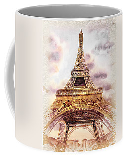 Coffee Mug featuring the painting Eiffel Tower Vintage Art by Irina Sztukowski