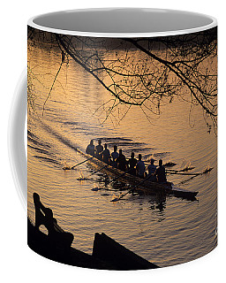 Eight Man Crew Rowing Along Montlake Cut  Coffee Mug