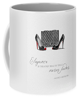 Elegance Never Fades Black And White Coffee Mug by Rebecca Jenkins