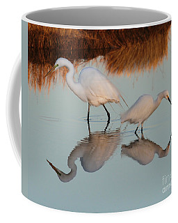 Elegant Big And Small Great White And Snowy Egrets Coffee Mug
