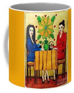 Coffee Mug featuring the painting Elegant Ladies In A Coffee-shop by Don Pedro De Gracia