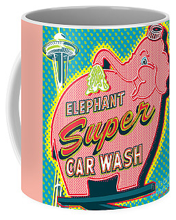 Elephant Car Wash And Space Needle - Seattle Coffee Mug