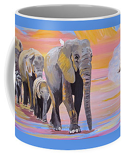 Coffee Mug featuring the painting Elephant Fantasy Must Open by Phyllis Kaltenbach