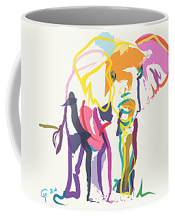 Coffee Mug featuring the painting Elephant In Color Ecru by Go Van Kampen